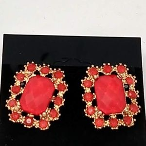 Red and Goldtone Post Earrings